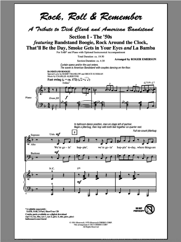 Rock, Roll and Remember: A Tribute To Dick Clark and American Bandstand (Medley) sheet music for choir and piano (SAB) by Roger Emerson