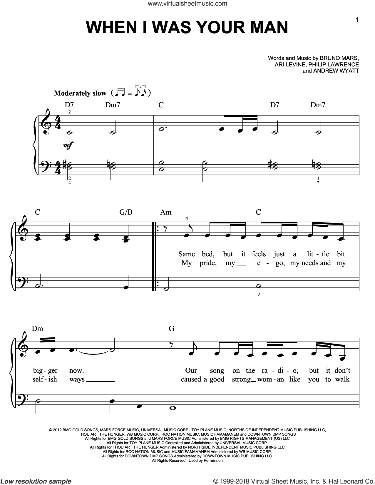 When I Was Your Man sheet music for piano solo by Bruno Mars, easy skill level