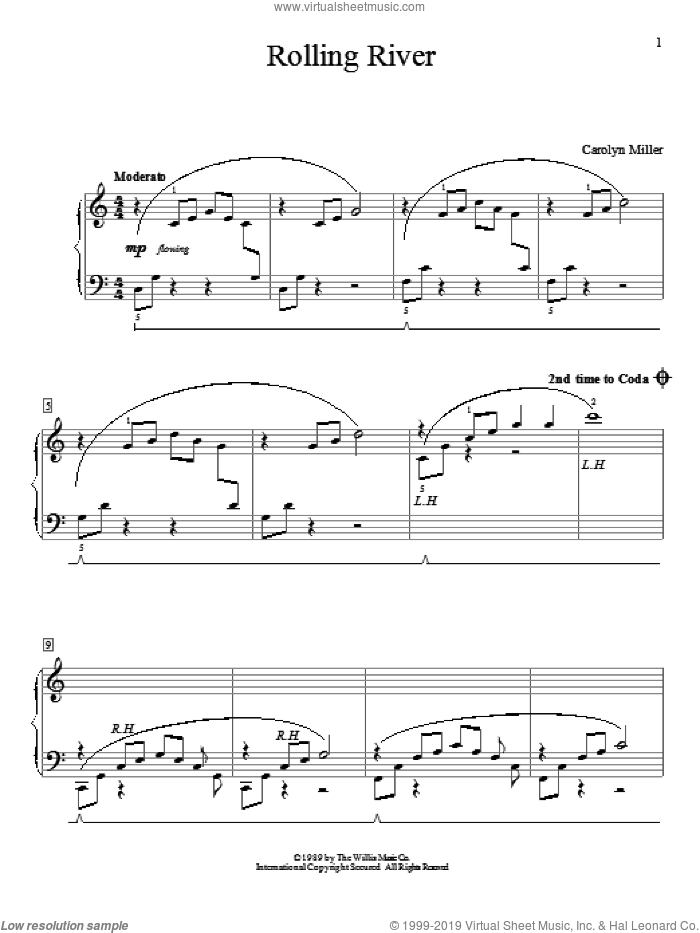 Rolling River sheet music for piano solo (elementary) by Carolyn Miller. Score Image Preview.
