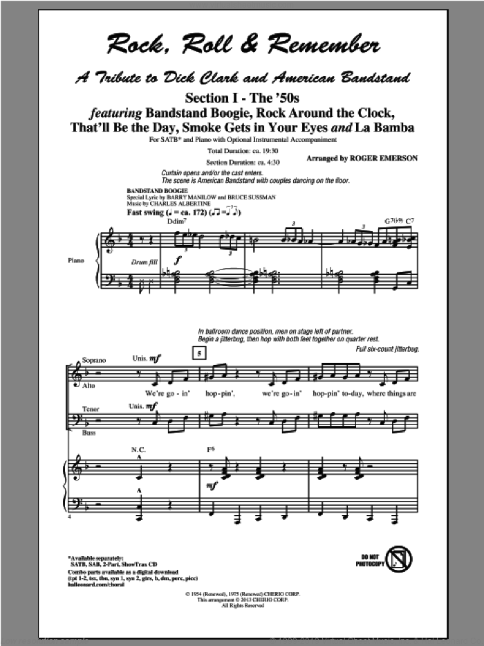 Rock, Roll and Remember: A Tribute To Dick Clark and American Bandstand (Medley) sheet music for choir (SATB) by Roger Emerson and Glee Cast, intermediate choir (SATB). Score Image Preview.