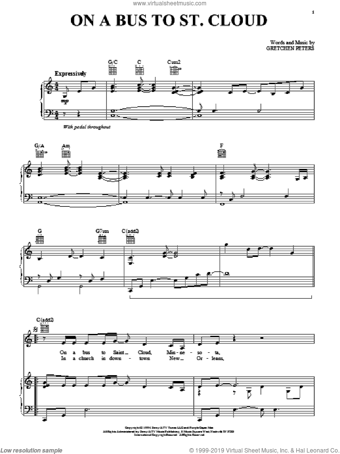 On A Bus To St. Cloud sheet music for voice, piano or guitar by Gretchen Peters and Trisha Yearwood. Score Image Preview.