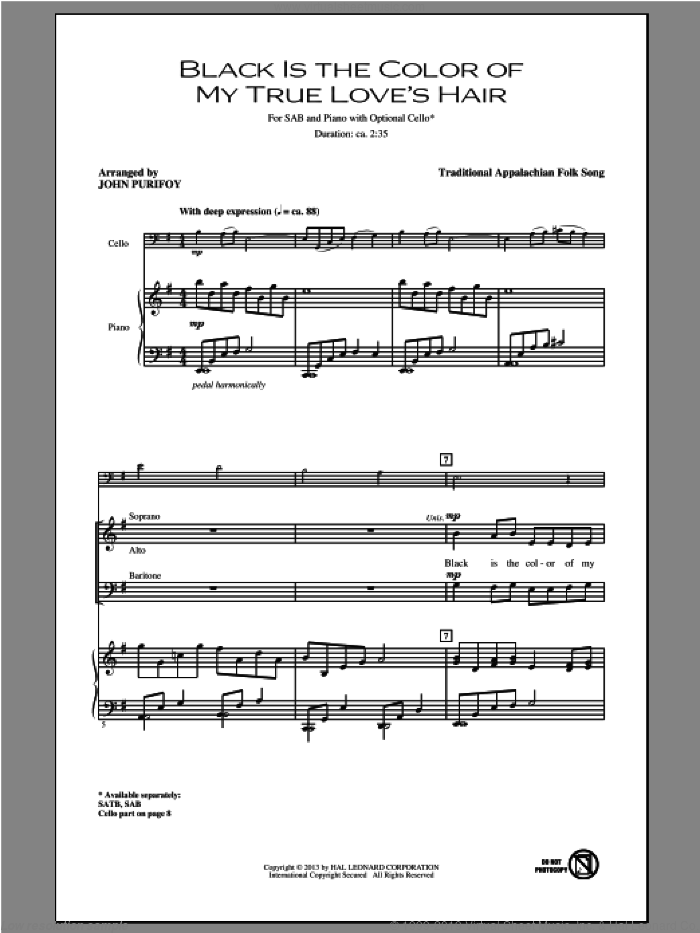 Black Is the Color of My True Love's Hair sheet music for choir and piano (SAB) by John Purifoy