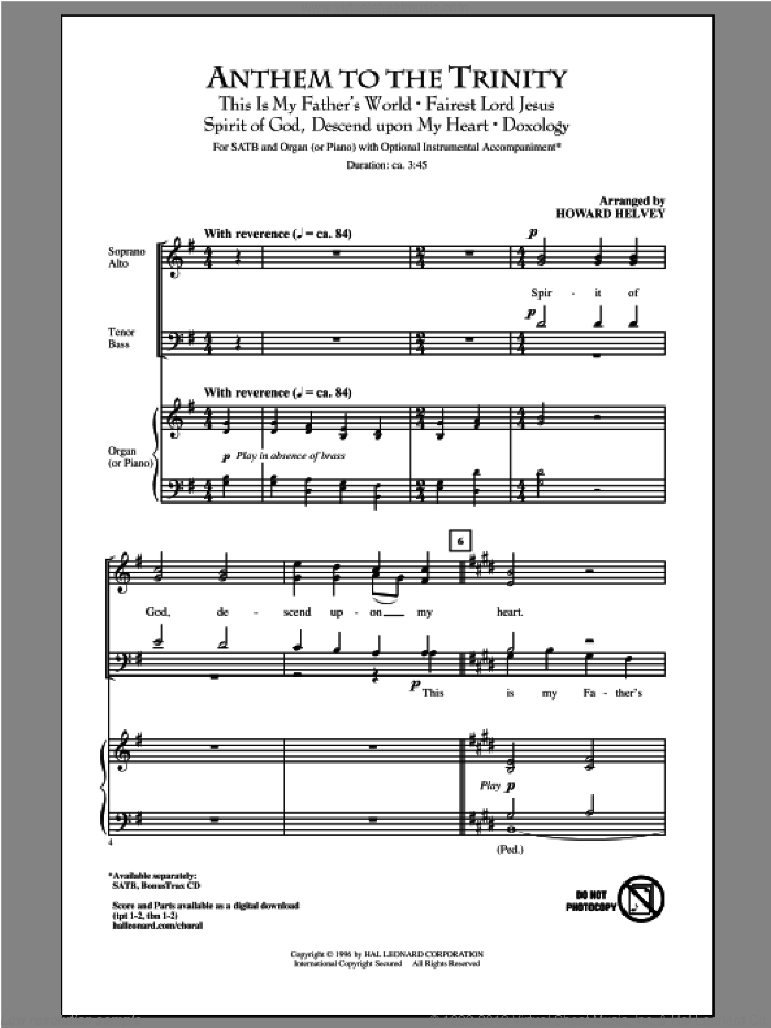 Anthem Of Trinity sheet music for choir (SATB: soprano, alto, tenor, bass) by Howard Helvey, intermediate. Score Image Preview.