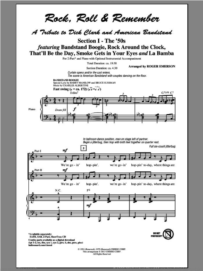 Rock, Roll and Remember: A Tribute To Dick Clark and American Bandstand (Medley) sheet music for choir (2-Part) by Glee Cast and Roger Emerson, intermediate duet