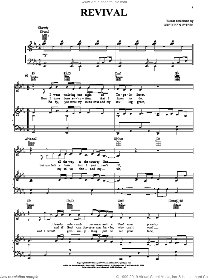 Revival sheet music for voice, piano or guitar by Gretchen Peters and Jimmy LaFave, intermediate skill level