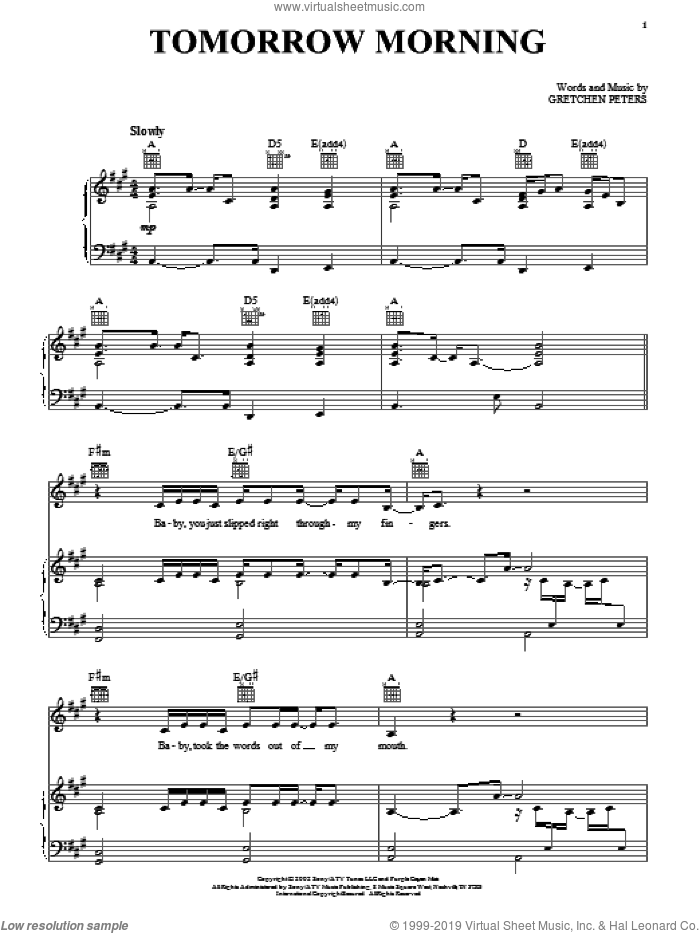 Tomorrow Morning sheet music for voice, piano or guitar by Gretchen Peters. Score Image Preview.