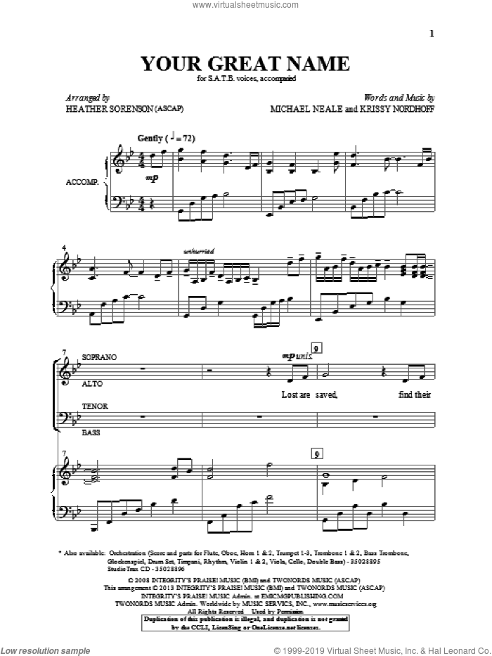 Your Great Name sheet music for choir (SATB: soprano, alto, tenor, bass) by Heather Sorenson and Krissy Nordhoff, intermediate