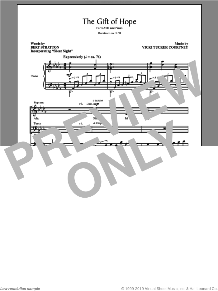 The Gift Of Hope sheet music for choir (SATB: soprano, alto, tenor, bass) by Bert Stratton, intermediate. Score Image Preview.