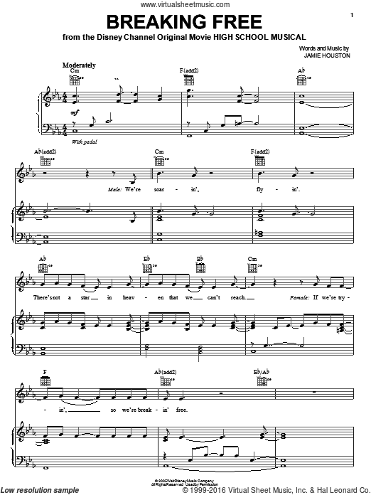 Breaking Free (COMPLETE) sheet music for voice, piano or guitar by Jamie Houston