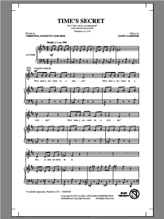 Time's Secret sheet music for choir (2-Part) by Janet Gardner, intermediate duet. Score Image Preview.