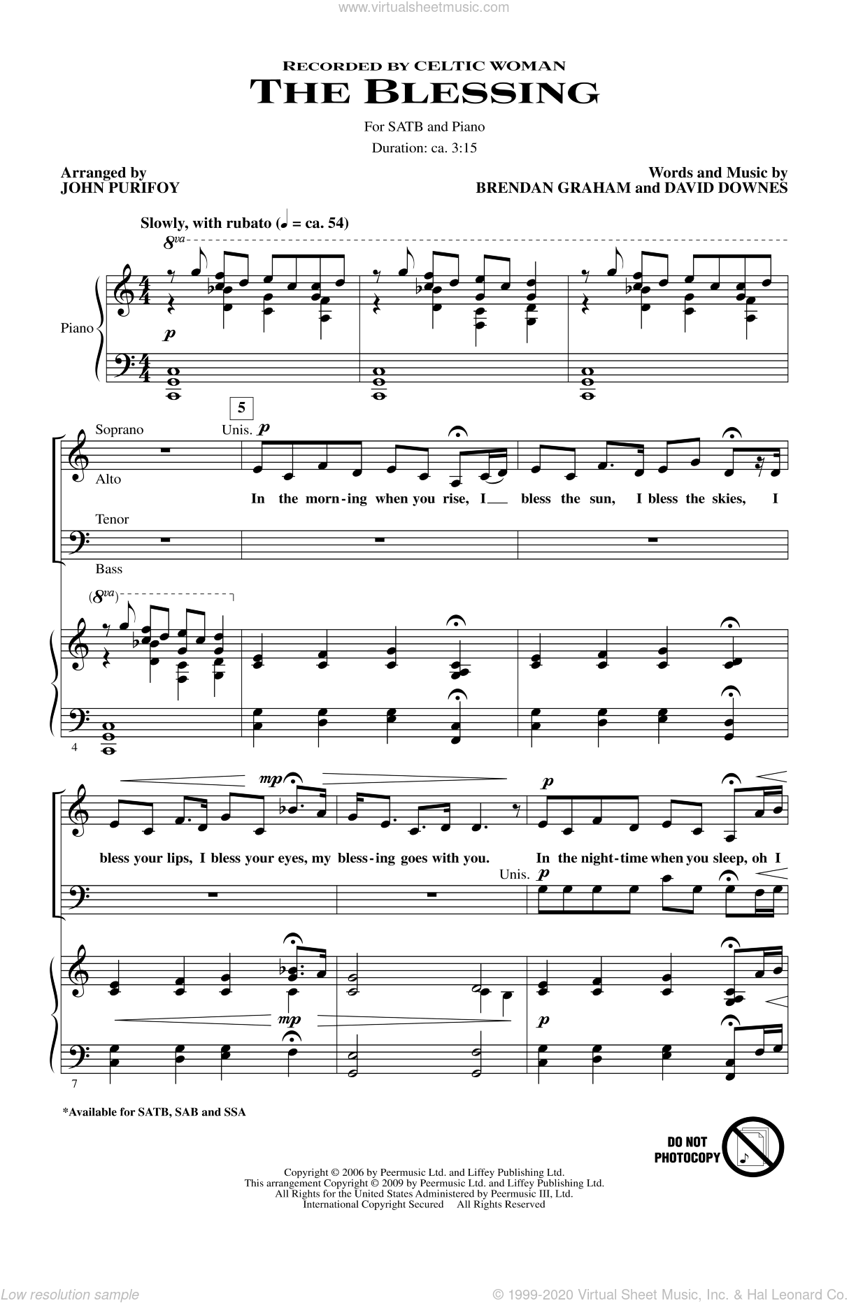 The Blessing sheet music for choir and piano (SATB) by John Purifoy. Score Image Preview.