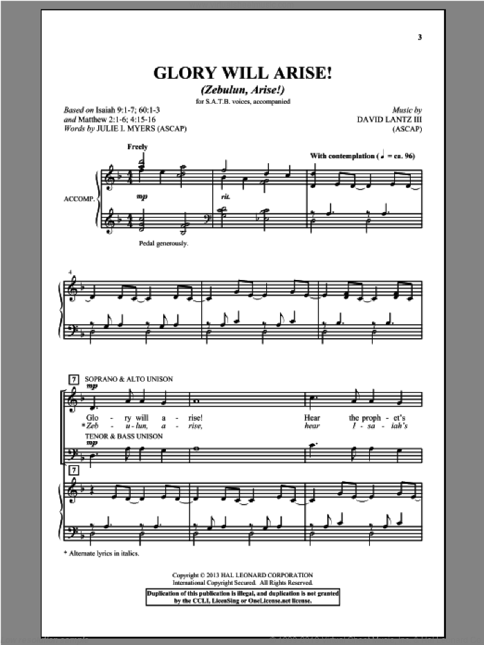 Glory Will Arise! (Zebulun, Arise) sheet music for choir and piano (SATB) by David Lantz
