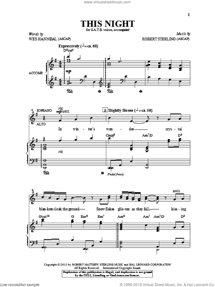 This Night sheet music for choir and piano (SATB) by Robert Sterling
