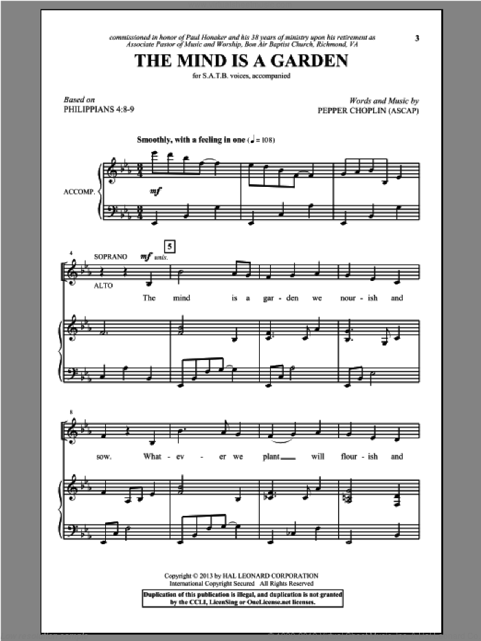 The Mind Is A Garden sheet music for choir and piano (SATB) by Pepper Choplin