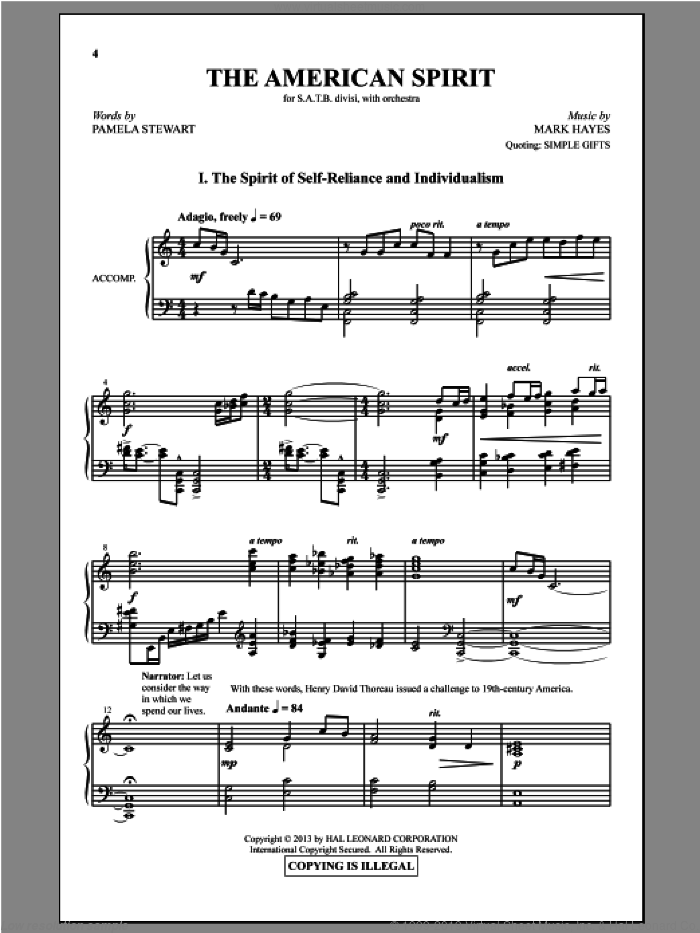 The American Spirit sheet music for choir and piano (SATB) by Mark Hayes