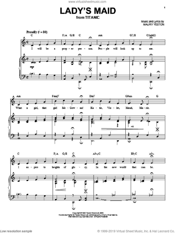 Lady's Maid sheet music for voice and piano by Maury Yeston, intermediate voice. Score Image Preview.