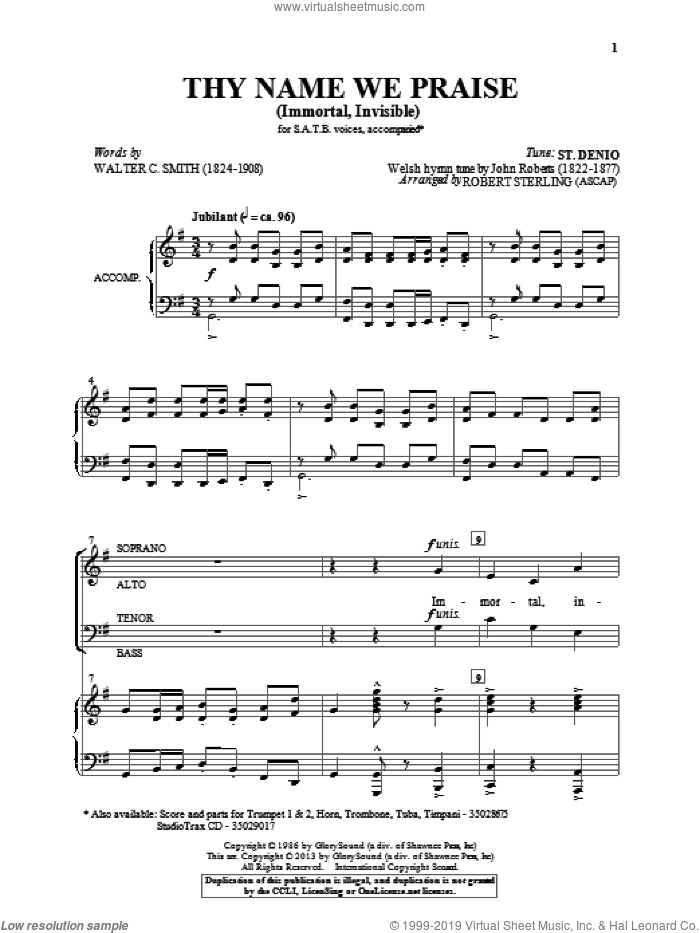 Immortal, Invisible sheet music for choir and piano (SATB) by Robert Sterling. Score Image Preview.
