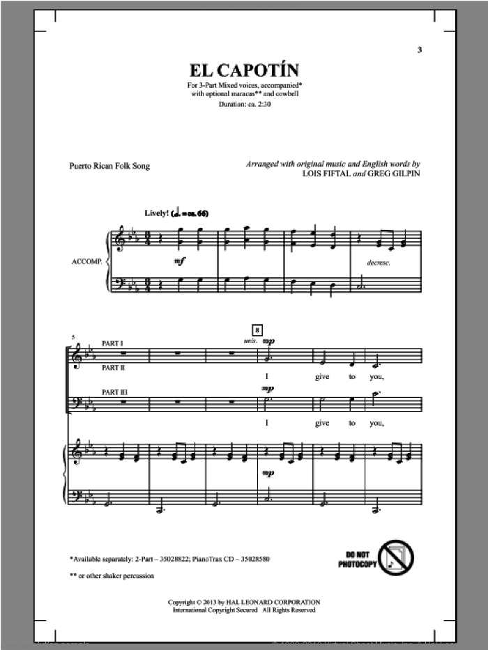 El Capotin sheet music for choir and piano (chamber ensemble) by Greg Gilpin