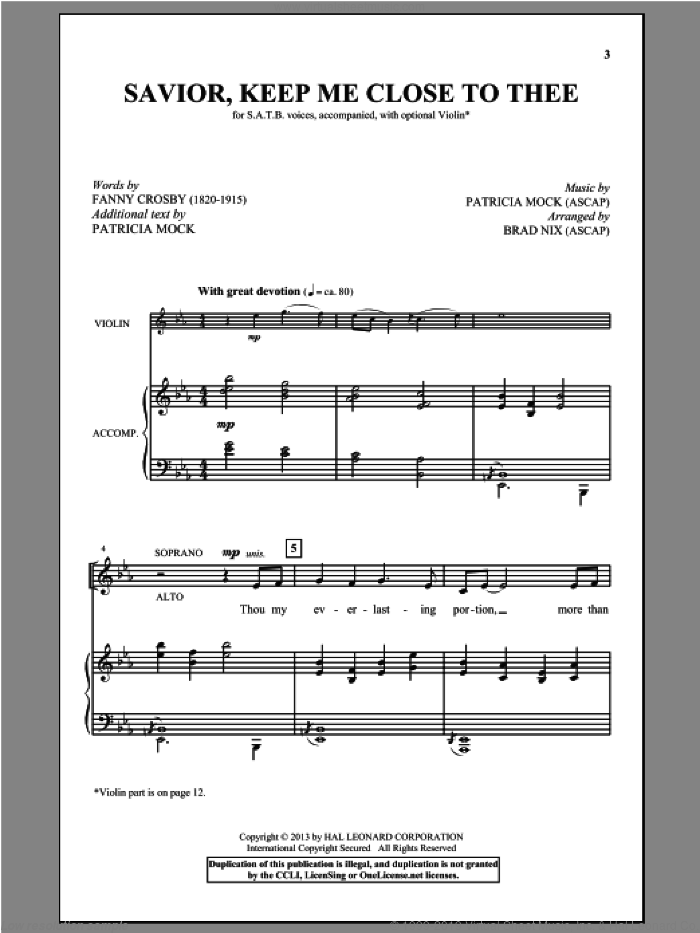 Savior, Keep Me Close To Thee sheet music for choir and piano (SATB) by Brad Nix