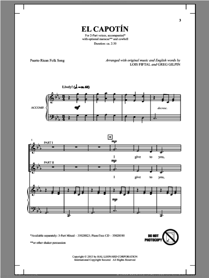 El Capotin sheet music for choir and piano (duets) by Greg Gilpin
