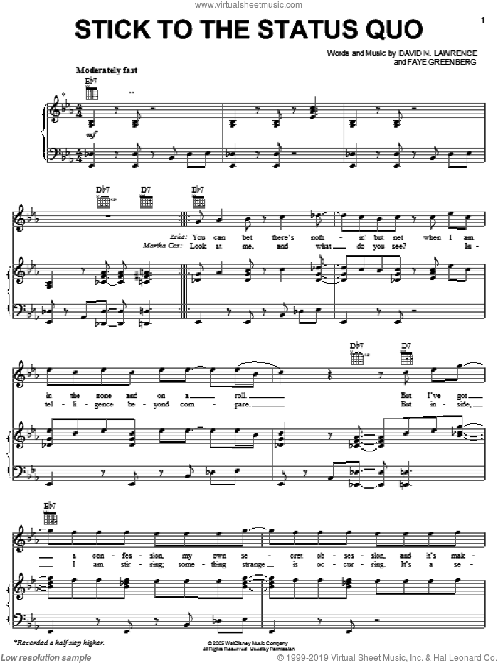 Stick To The Status Quo sheet music for voice, piano or guitar by High School Musical, David N. Lawrence and Faye Greenberg, intermediate skill level