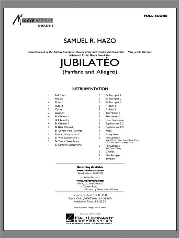 Jubilateo (COMPLETE) sheet music for concert band by Samuel R. Hazo, intermediate. Score Image Preview.