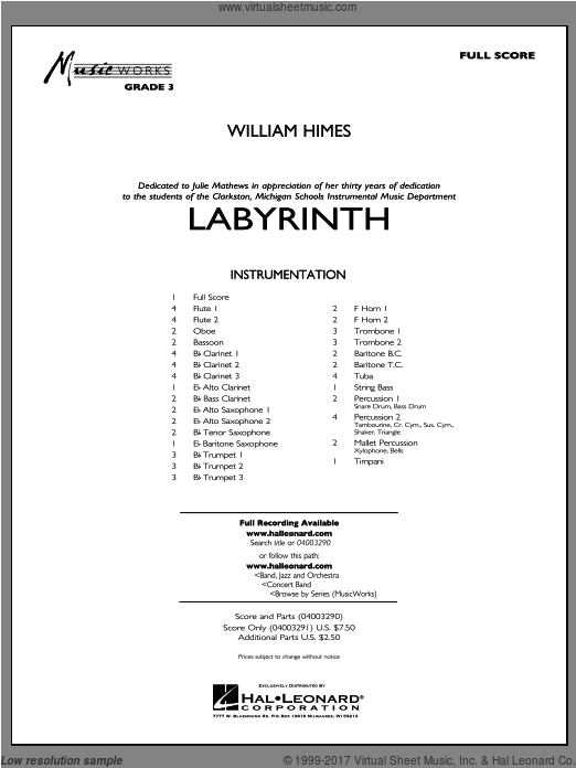 Labyrinth (COMPLETE) sheet music for concert band by William Himes