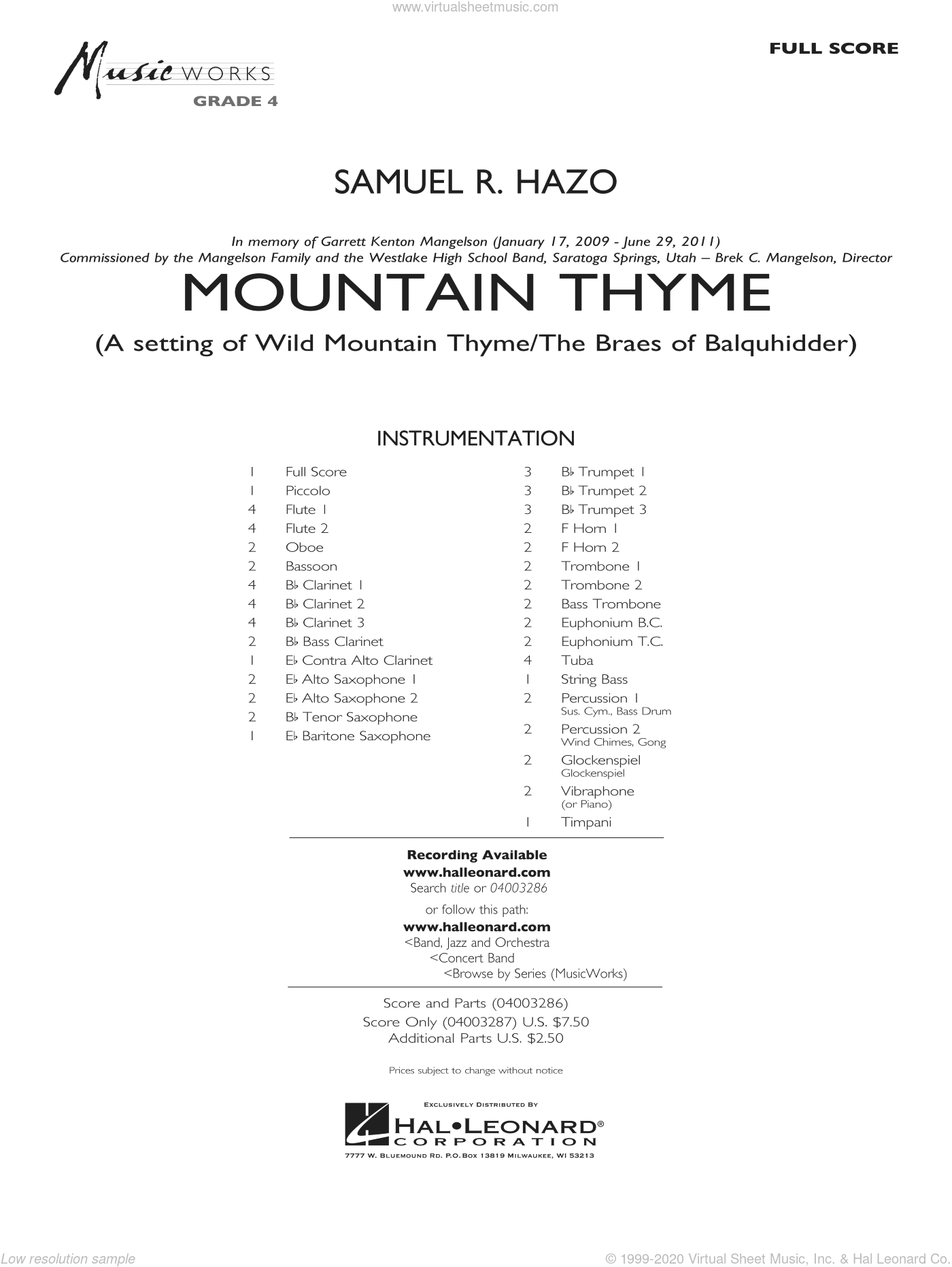 Mountain Thyme sheet music for concert band (full score) by Samuel R. Hazo