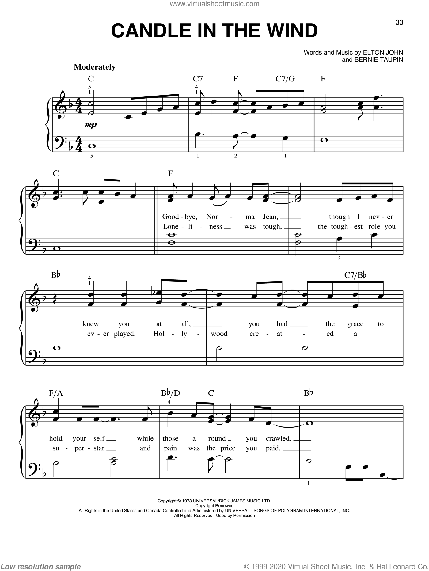 Candle In The Wind, (easy) sheet music for piano solo by Elton John and Bernie Taupin, easy skill level