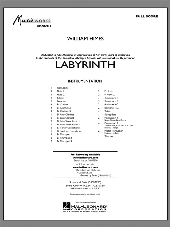 Labyrinth (COMPLETE) sheet music for concert band by William Himes, intermediate. Score Image Preview.