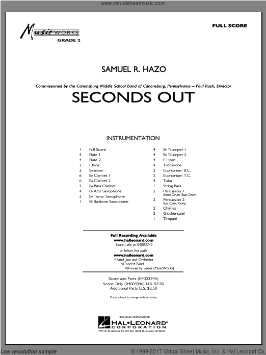 Seconds Out (COMPLETE) sheet music for concert band by Samuel R. Hazo