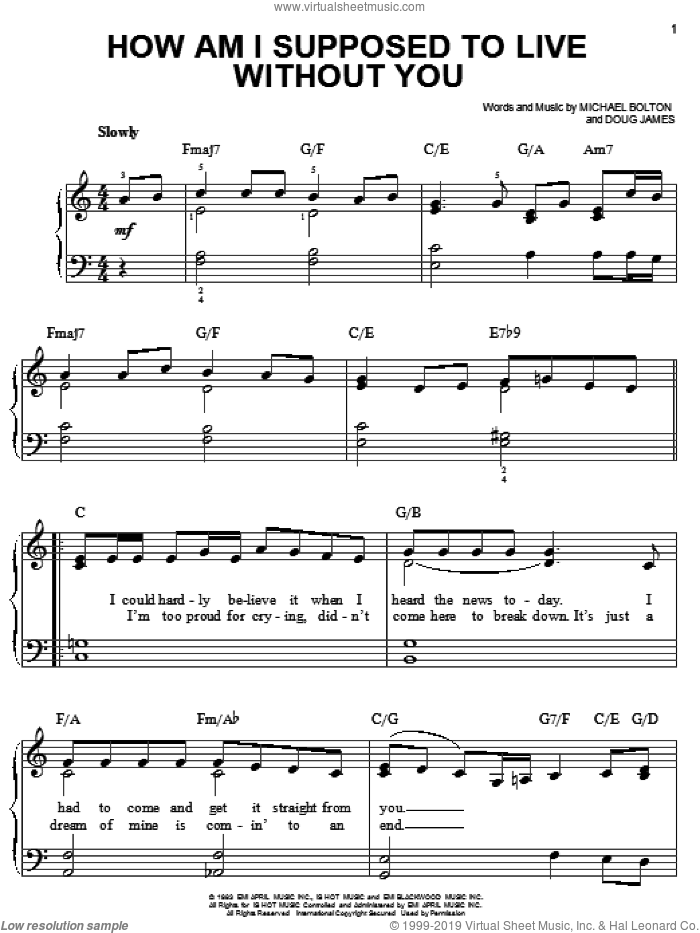 How Am I Supposed To Live Without You sheet music for piano solo by Doug James and Michael Bolton. Score Image Preview.