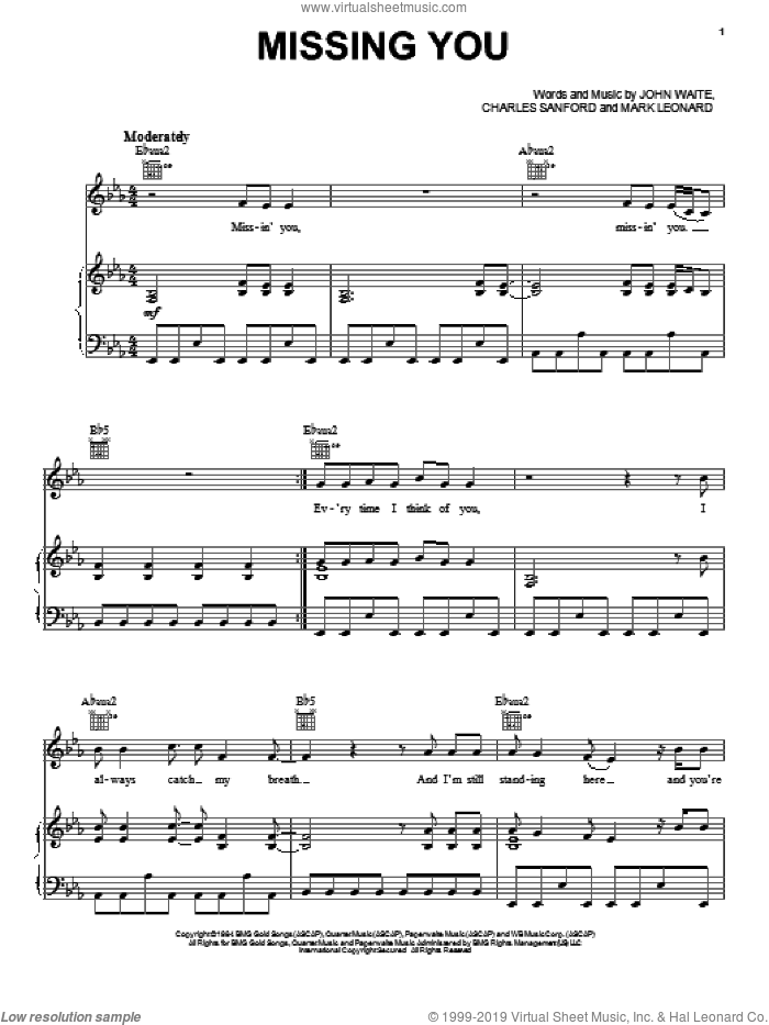 Missing You sheet music for voice, piano or guitar by John Waite, Brooks & Dunn, Charles Sanford and Mark Leonard, intermediate skill level