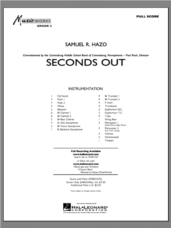 Seconds Out (COMPLETE) sheet music for concert band by Samuel R. Hazo, intermediate. Score Image Preview.