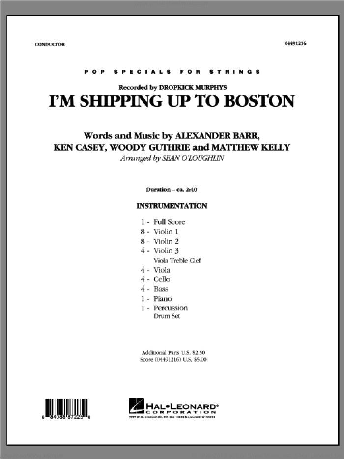 I'm Shipping Up To Boston (COMPLETE) sheet music for orchestra by Sean O'Loughlin and Dropkick Murphys, intermediate. Score Image Preview.