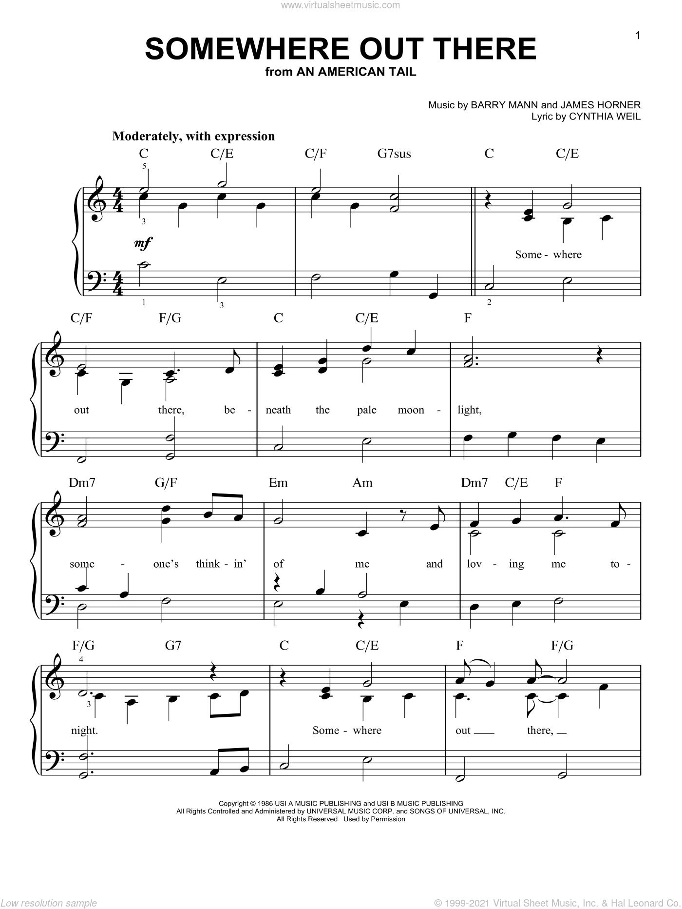 Somewhere Out There, (easy) sheet music for piano solo by Linda Ronstadt & James Ingram, James Ingram, Linda Ronstadt, Barry Mann, Cynthia Weil and James Horner, wedding score, easy skill level