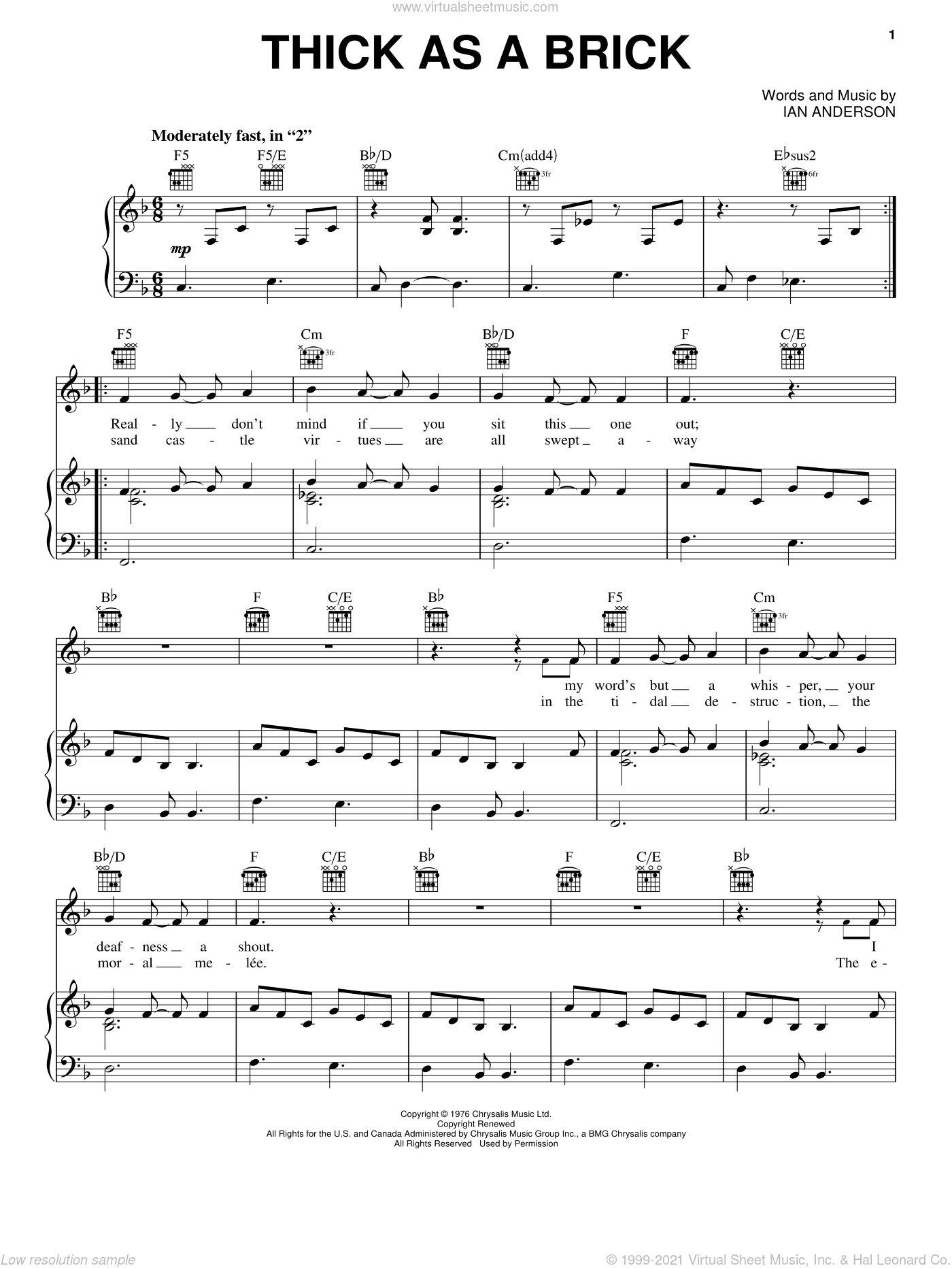 Thick As A Brick sheet music for voice, piano or guitar by Ian Anderson. Score Image Preview.
