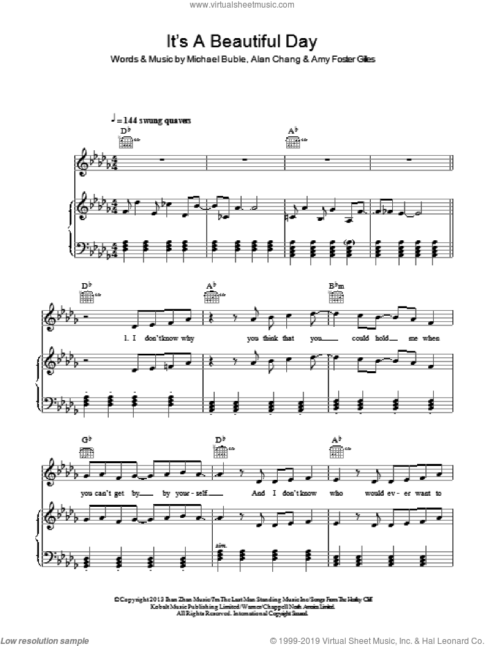 It's A Beautiful Day sheet music for voice, piano or guitar by Amy Foster Gilles