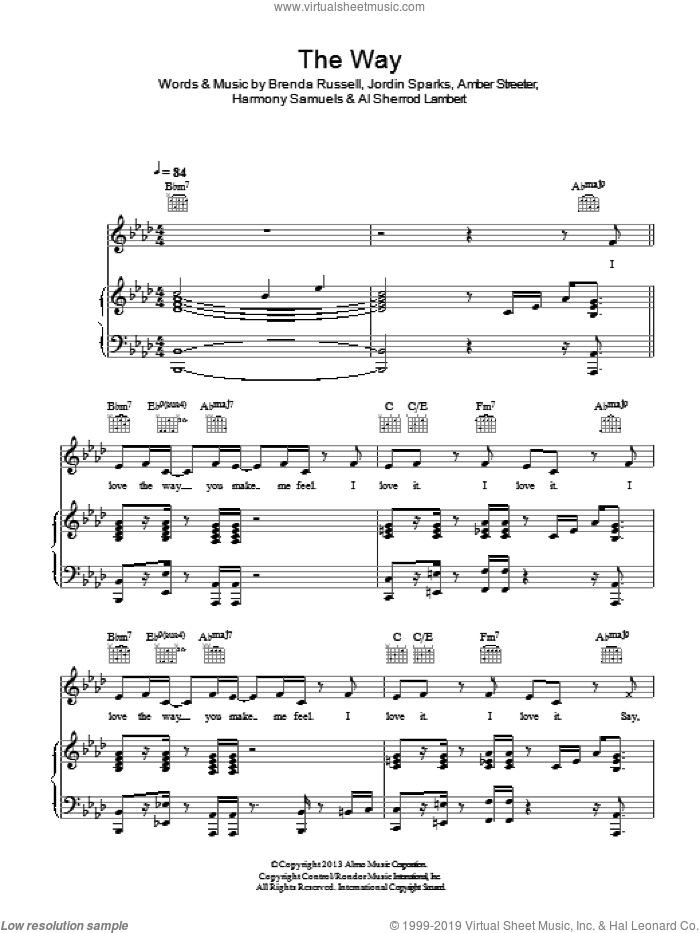 The Way sheet music for voice, piano or guitar by Ariana Grande, Al Sherrod Lambert, Amber Streeter, Brenda Russell, Harmony Samuels and Jordin Sparks, intermediate. Score Image Preview.