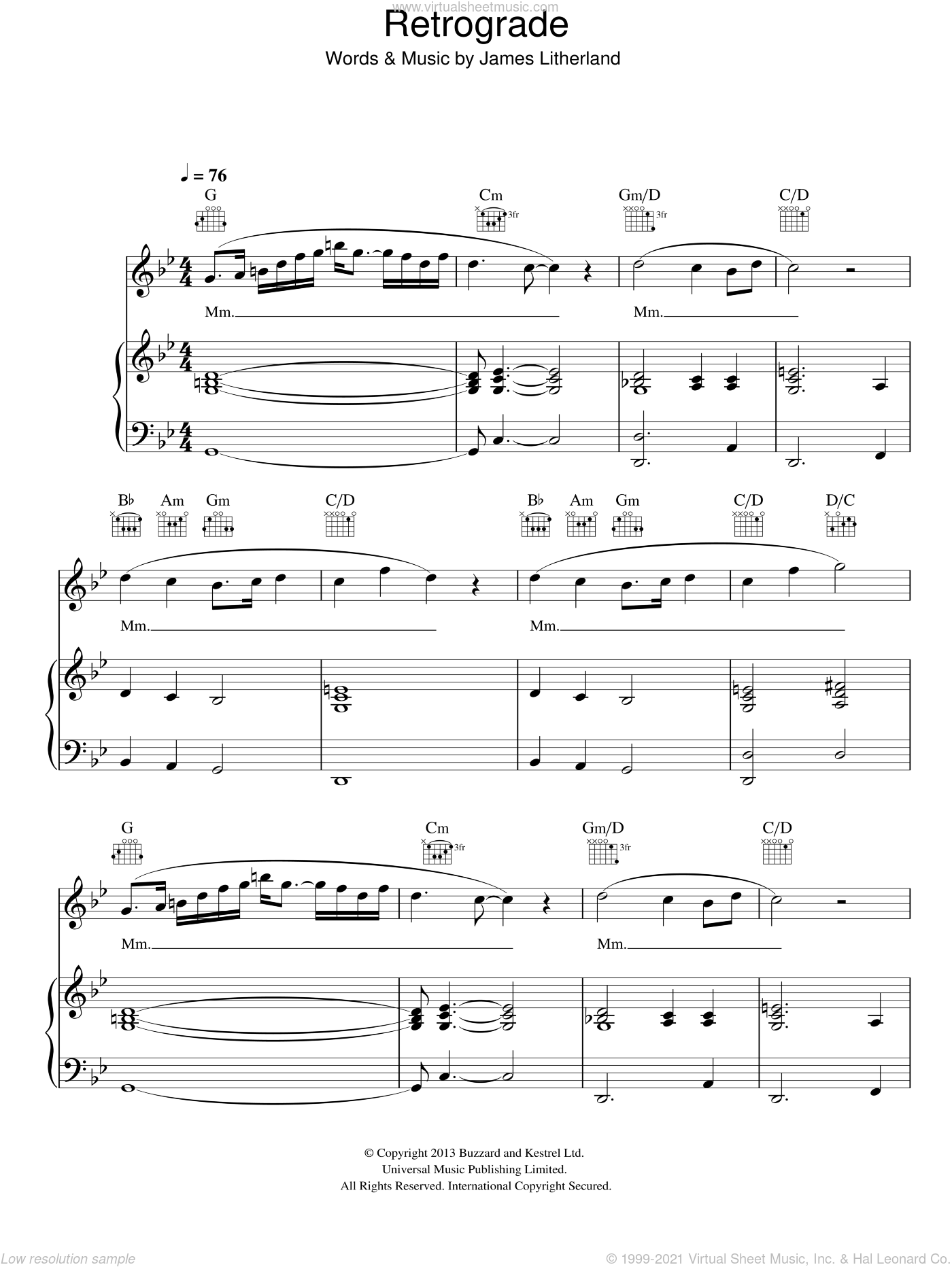 Retrograde sheet music for voice, piano or guitar by James Blake, intermediate voice, piano or guitar. Score Image Preview.