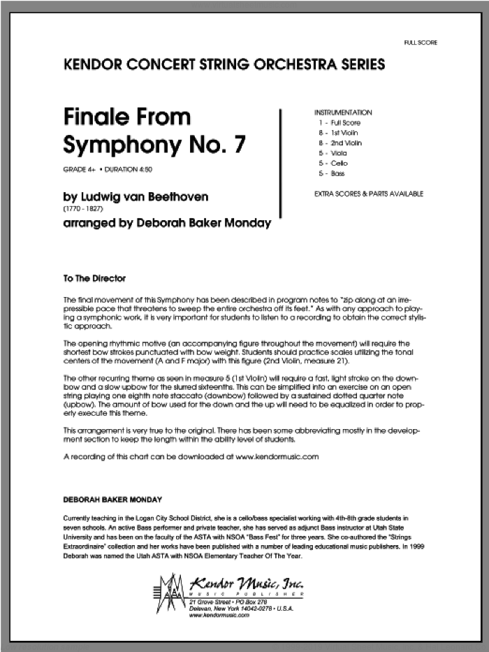 Finale From Symphony No. 7 (COMPLETE) sheet music for orchestra by Ludwig van Beethoven and Monday, classical score, intermediate