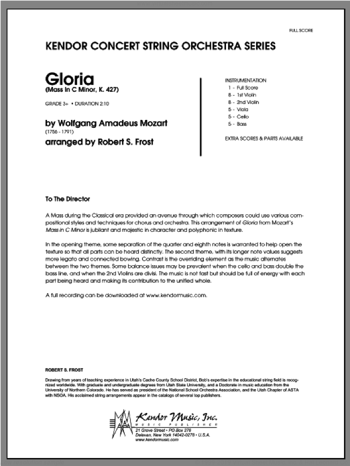 Gloria (Mass In C Minor, K. 427) (COMPLETE) sheet music for orchestra by Wolfgang Amadeus Mozart and Frost, classical score, intermediate orchestra. Score Image Preview.