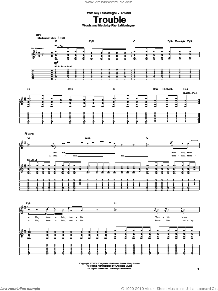 Trouble sheet music for guitar (tablature) by Ray LaMontagne, intermediate. Score Image Preview.