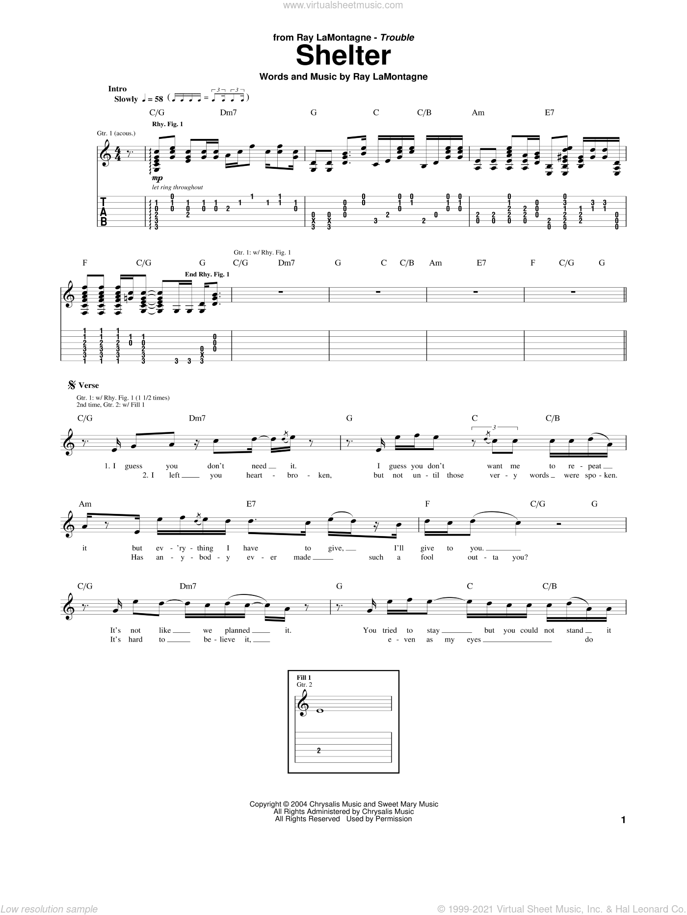 Shelter sheet music for guitar (tablature) by Ray LaMontagne. Score Image Preview.