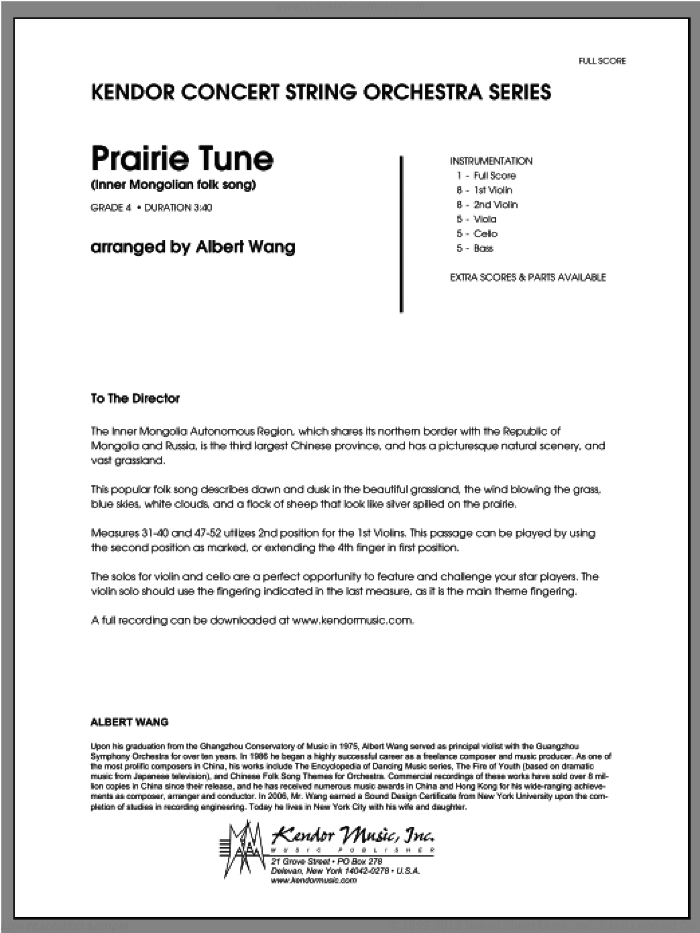 Prairie Tune (Inner Mongolian folk song) (COMPLETE) sheet music for orchestra by Wang, classical score, intermediate