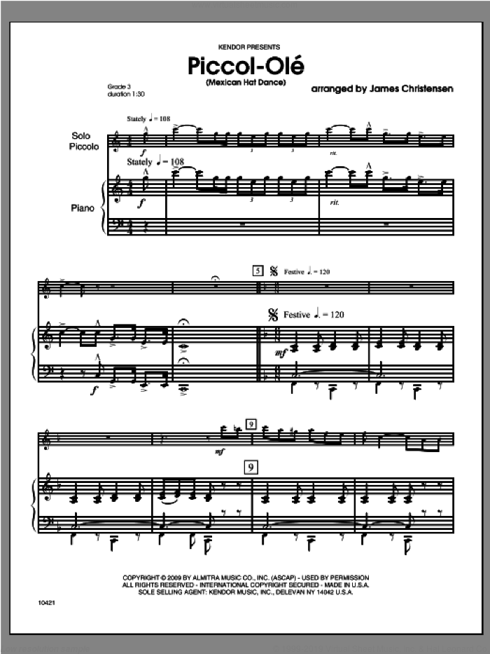 Piccol-Ole (Mexican Hat Dance) (COMPLETE) sheet music for piccolo and piano by Christensen, classical score, intermediate. Score Image Preview.