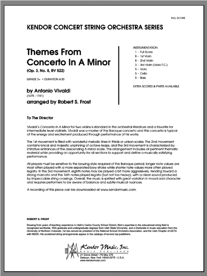 Themes From Concerto In A Minor (Op. 3, No. 8, RV 522) (COMPLETE) sheet music for orchestra by Antonio Vivaldi and Robert S. Frost, classical score, intermediate skill level