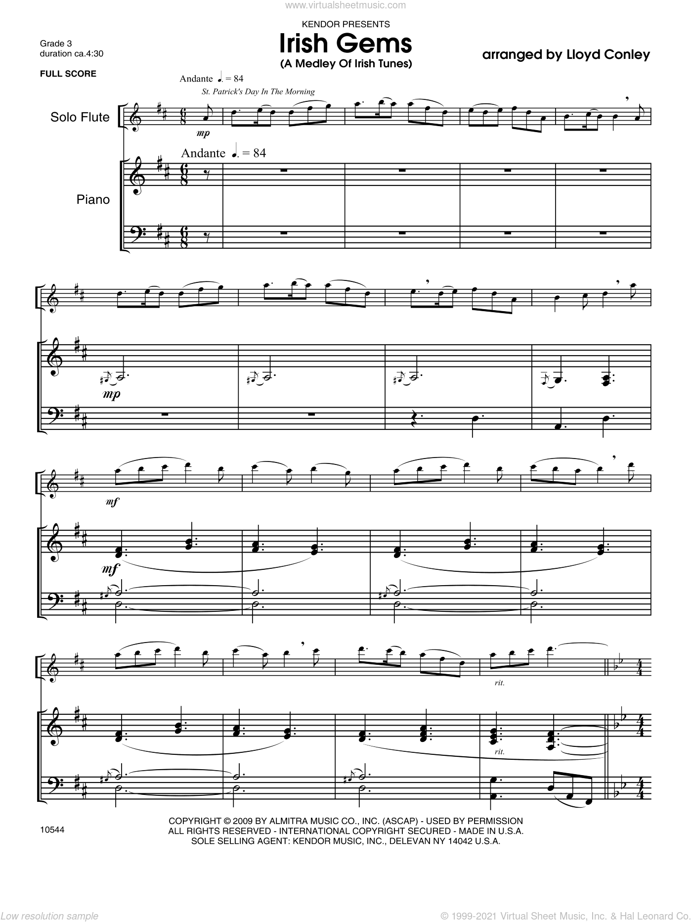 Irish Gems (A Medley Of 7 Irish Tunes) sheet music for flute and piano (piano/score) by Conley
