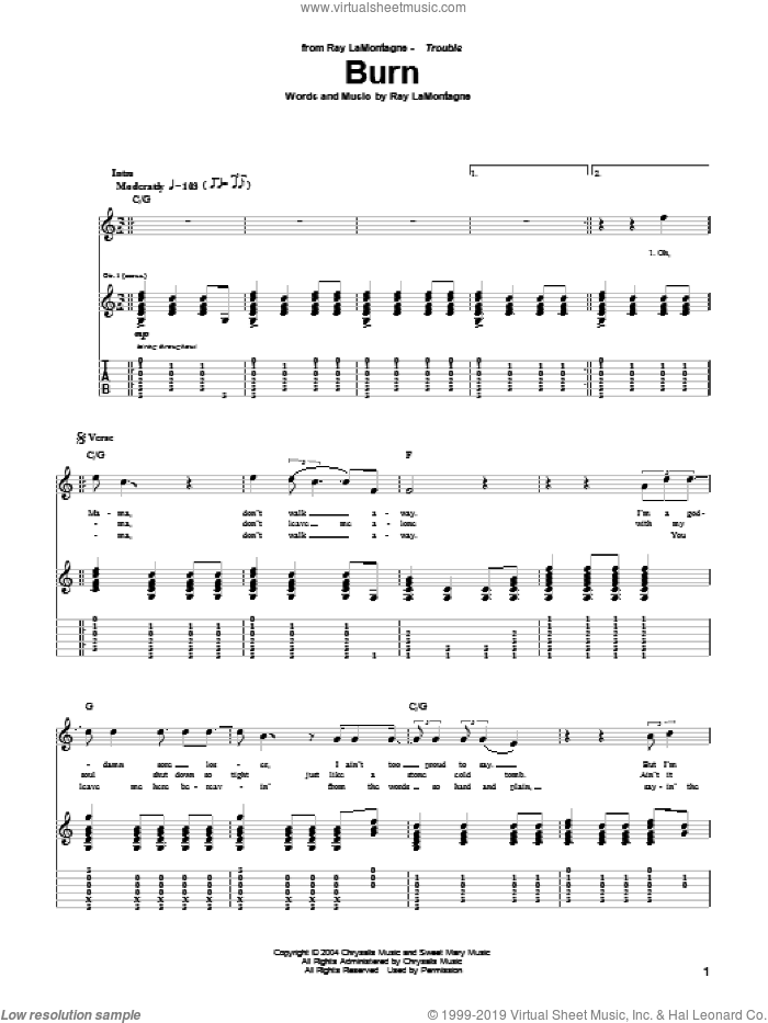 Burn sheet music for guitar (tablature) by Ray LaMontagne, intermediate. Score Image Preview.