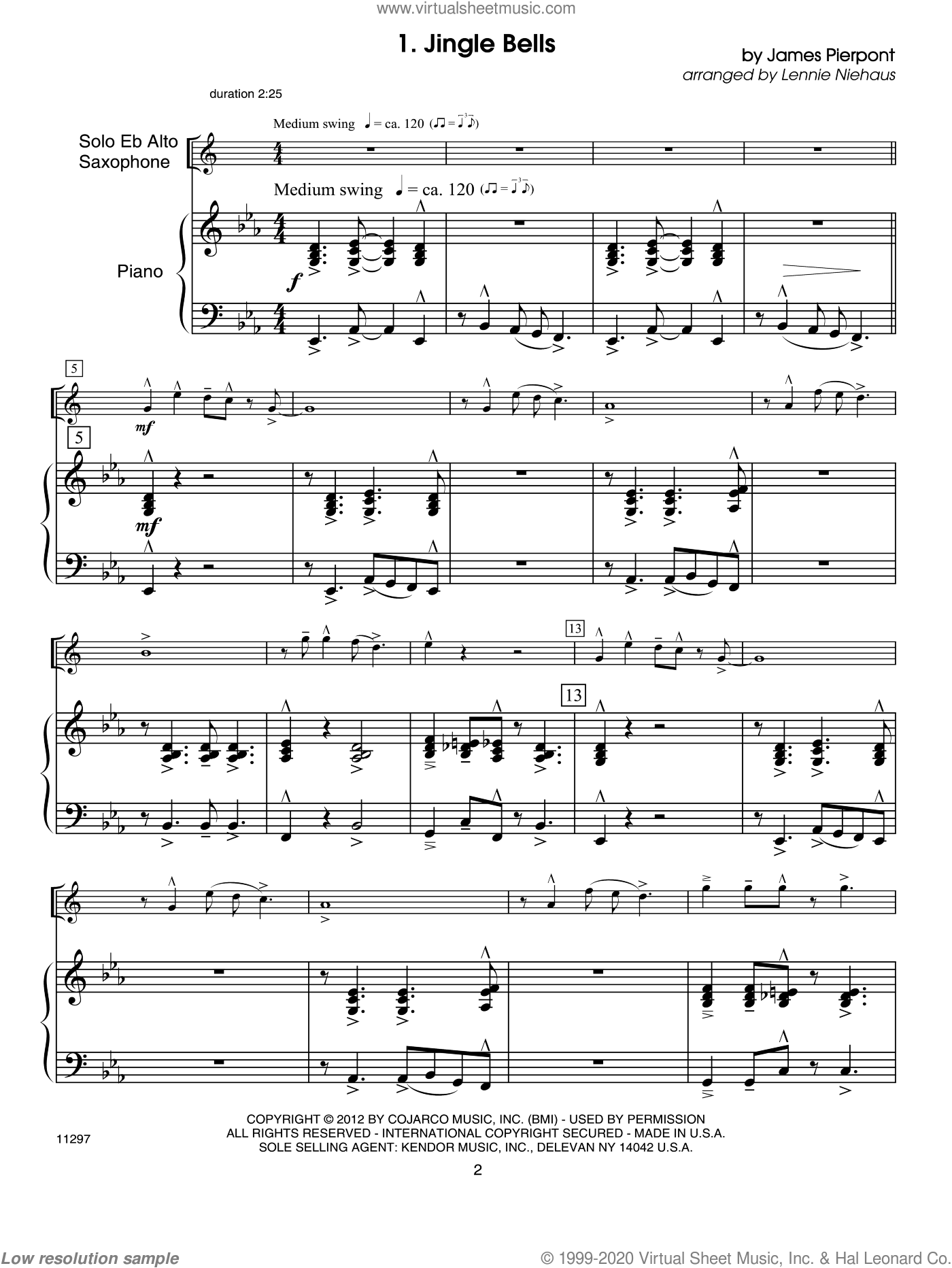 Christmas Lites sheet music for alto saxophone and piano (piano/score) by Lennie Niehaus